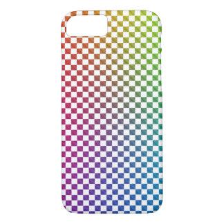 Caisse de damier d'arc-en-ciel coque iPhone 7