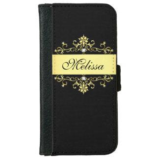 Caisse de portefeuille de l'iPhone Girly 6 de noir Coque Avec Portefeuille Pour iPhone 6