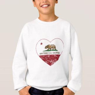 california flag san francisco heart distressed tshirt