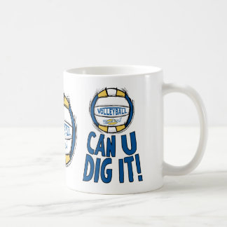Can U Dig It Volleyball Blue Gold Classic White Coffee Mug