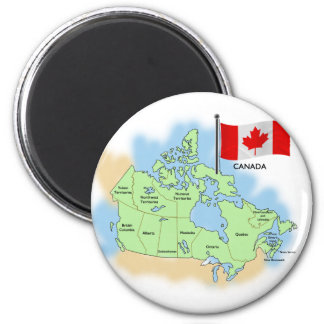 Canadian Flag and Map 2 Inch Round Magnet