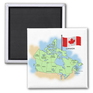 Canadian Flag and Map Square Magnet