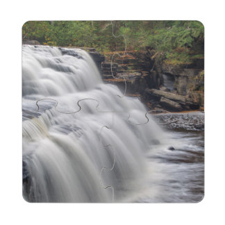 Canyon Falls On The Sturgeon River Near L'Anse Drink Coaster Puzzle
