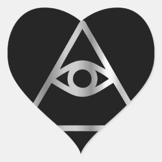 Cao dai Eye of Providence- Religious icon Heart Sticker
