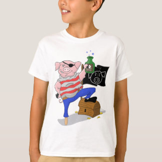 Capitaine Aham Kids Shirt de pirate de porc T Shirts