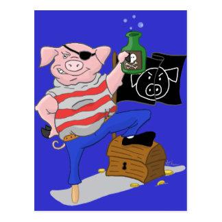 Capitaine Cartoon de porc de pirate Cartes Postales