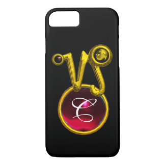 CAPRICORN GOLD ZODIAC SIGN RED RUBY MONOGRAM iPhone 7 CASE