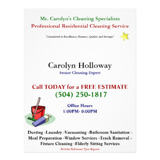Carolyn Holloway Sample Flyer-Cleaning Services Flyers