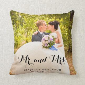 Carreau de M. et de Mme Personalized Wedding Photo Coussin Décoratif
