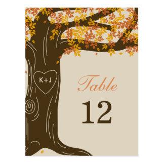 Carte de nombre de Tableau de mariage de automne Carte Postale