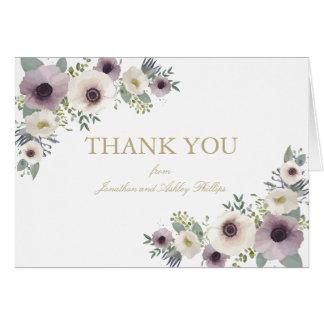 Carte de note de Merci de bouquet d'anémone