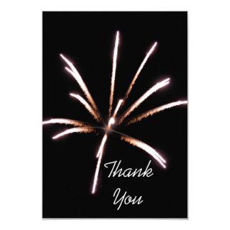 Carte de note plate de Merci de feux d'artifice Carton D'invitation 8,89 Cm X 12,70 Cm
