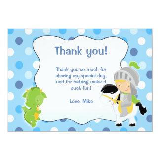 Carte de remerciements de dragon de chevalier carton d'invitation  12,7 cm x 17,78 cm