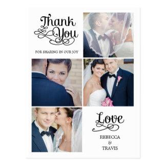 Carte de remerciements moderne de mariage de cartes postales