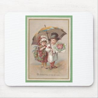 Carte de voeux victorienne de Christams 1885 Tapis De Souris