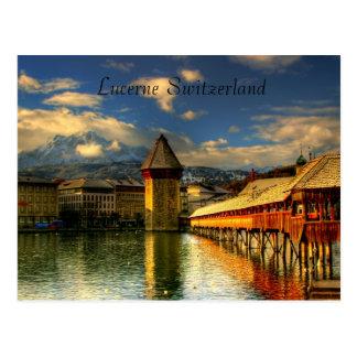 Carte postale de pont de chapelle de la Suisse de