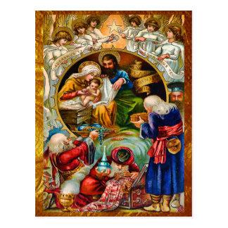 Carte postale d'or de scène de nativité