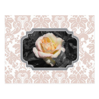 Carte pour notes de damassé de rose jaune cartes postales