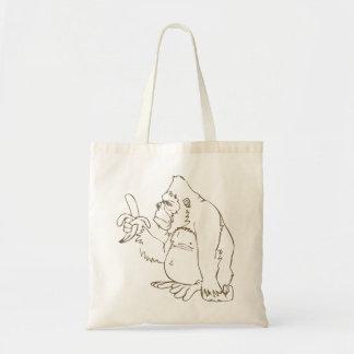 Cartoon Monkey with a Banana Canvas Tote Bag