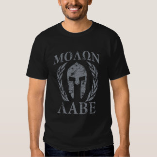 Casque spartiate grunge de Molon Labe Tee-shirt