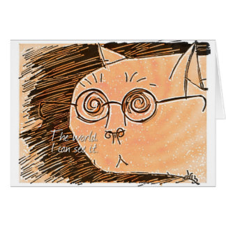 cat with eyeglasses greeting card