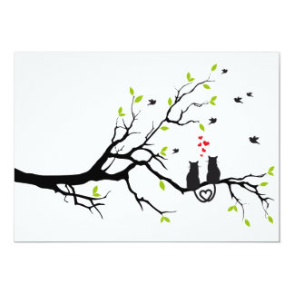 """Cats in love on tree with red hearts 5"""" x 7"""" invitation card"""