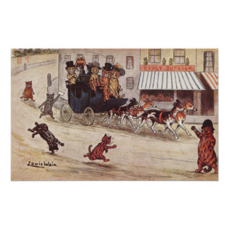 Cats on Coach Race Down High Street Poster