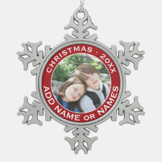 Celebrate Christmas with Your Favorite Photo Pewter Snowflake Ornament