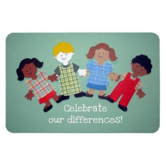 Celebrate our differences! rectangular photo magnet
