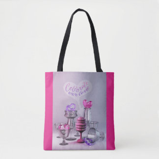 Celebrate Our Love Valentine Hearts Cocktail Glass Tote Bag