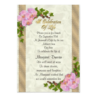 Celebration of life Invitation orchids