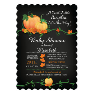 Chalkboard Autumn Pumpkin Baby Shower Invitation