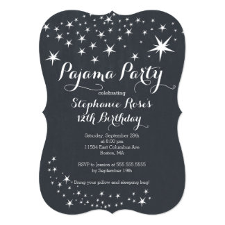 Chalkboard Slumber Party Birthday Party Invitation