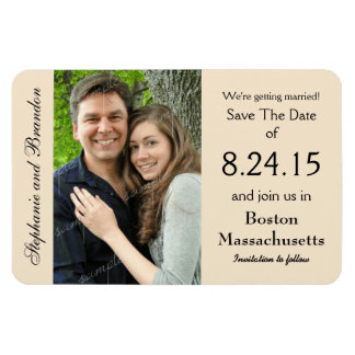 Champagne Photo Magnet Wedding Save the Date