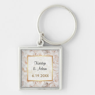 Champagne Pink Rose Elegance Template Silver-Colored Square Keychain