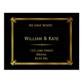 Change of address postcard  Art Deco Style gold