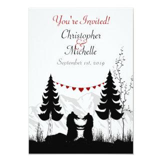 "Charming Silhouette Mountain Bear Couple Wedding 5"" X 7"" Invitation Card"