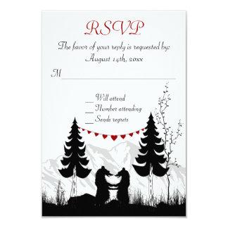 "Charming Silhouette Mountain Bears Wedding RSVP 3.5"" X 5"" Invitation Card"