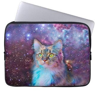 Chat fier avec l'arrière - plan de l'espace housses ordinateur portable