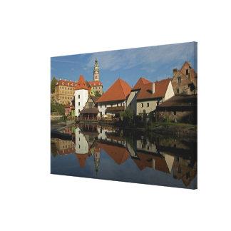 Chateau tower, Vltava River, Cesky Krumlov, Stretched Canvas Print