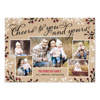 """Cheerful Collage Holiday Photo Card 5"""" X 7"""" Invitation Card"""