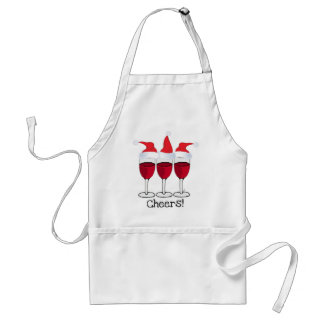 CHEERS! RED WINE AND CHRISTMAS HATS PRINT STANDARD APRON