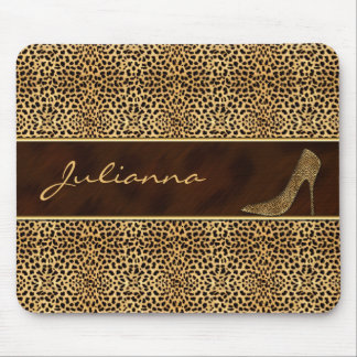 Cheetah Print and Stiletto Custom Mouse Pad