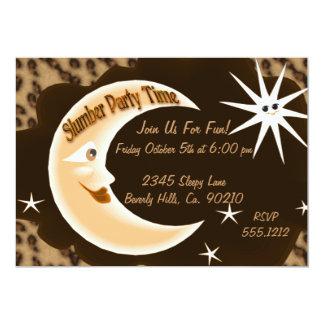 """Cheetah Sleepy Moon Slumber Party 5"""" X 7"""" Invitation Card"""