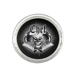 Chef Skull 4 with Smoking Cleavers Photo Ring