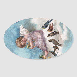 Cherub and Birds on Cloud Vintage Easter Oval Sticker