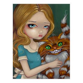 """Cheshire Cat Cuddle"" Postcard"