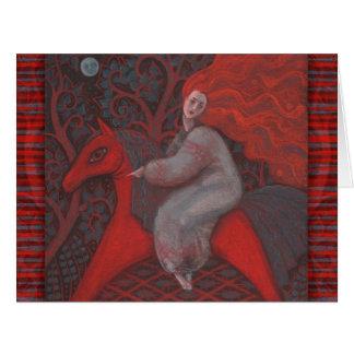 """""""Cheval rouge"""", femme de gingembre, art populaire, Carte De Vœux Grand Format"""