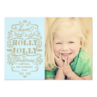 "Chic Blue Holly Jolly Christmas Custom Photo Cards 5"" X 7"" Invitation Card"