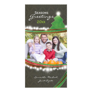 Chic Damask Seasons Greetings Christmas Photo Personalized Photo Card
